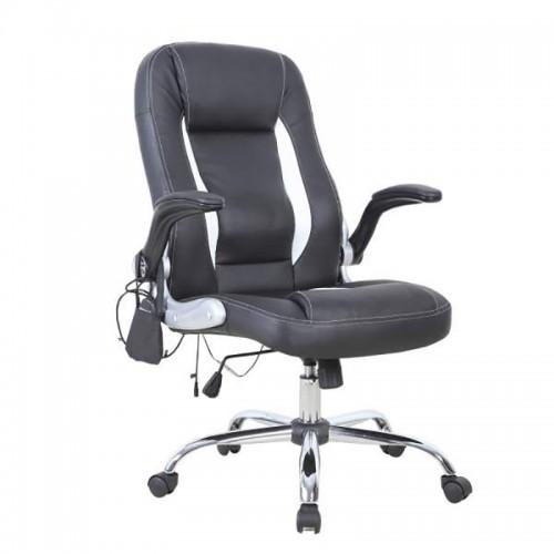 Scaun de birou cu masaj tapitat cu piele ECO-negru