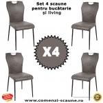 Set 4 scaune de bucatarie si living pe culoarea gri