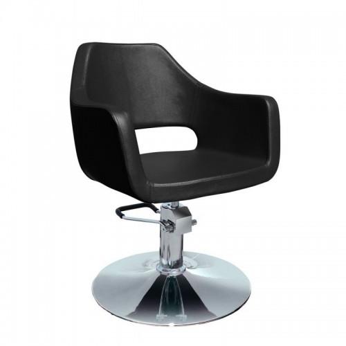 scaun frizerie-coafor pe negru si rosu