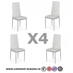 Set 4 scaune bucatarie-alb