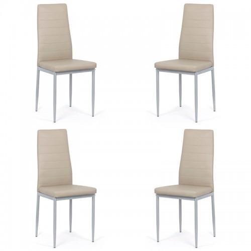 Set 4 scaune de bucatarie din piele ecologica bej