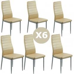 Set 6 scaune bucatarie-crem lucios
