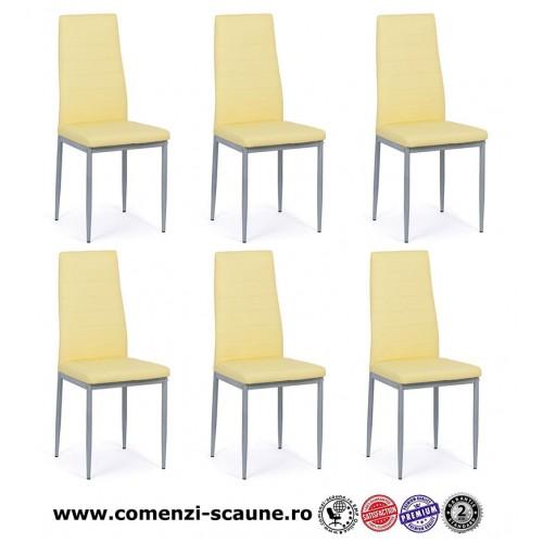 Set 6 scaune de bucatarie din piele ecologica crem