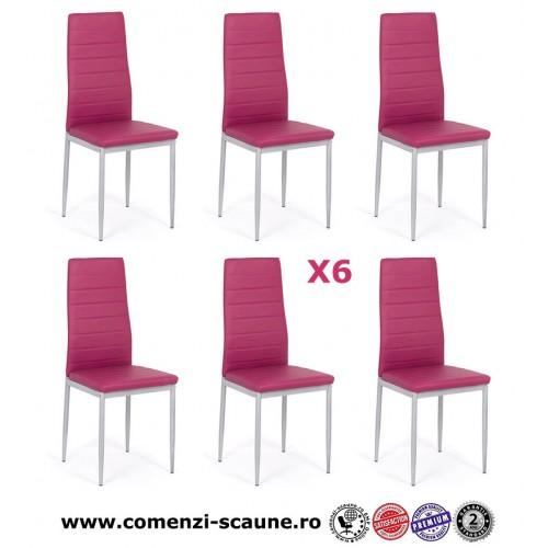 Set 6 scaune de bucatarie din piele ecologica mov-263