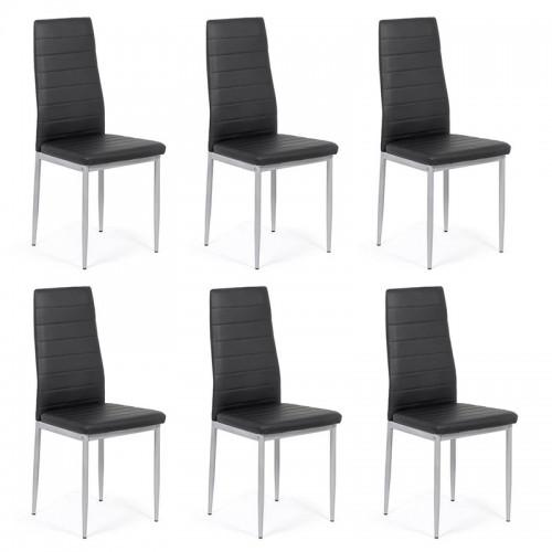 Set 6 scaune de bucatarie din piele ecologica neagra