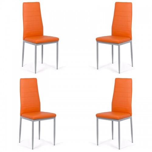Set 4 scaune de bucatarie din piele ecologica pe culoarea portocaliu