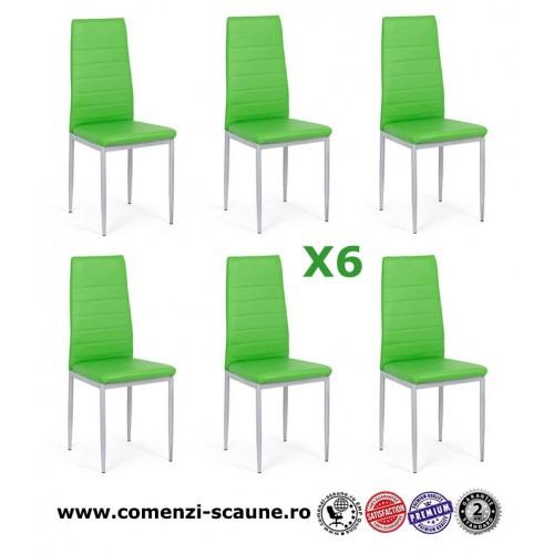 Set 6 scaune de bucatarie din piele ecologica verde