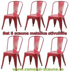 Set 6 scaune metalice stivuibile