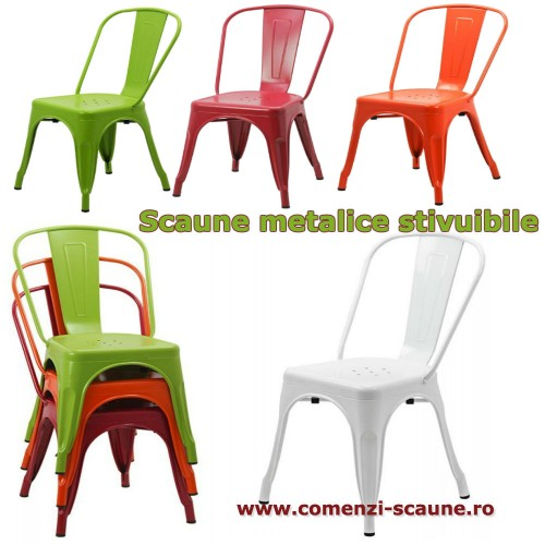 Set 4 scaune metalice stivuibile