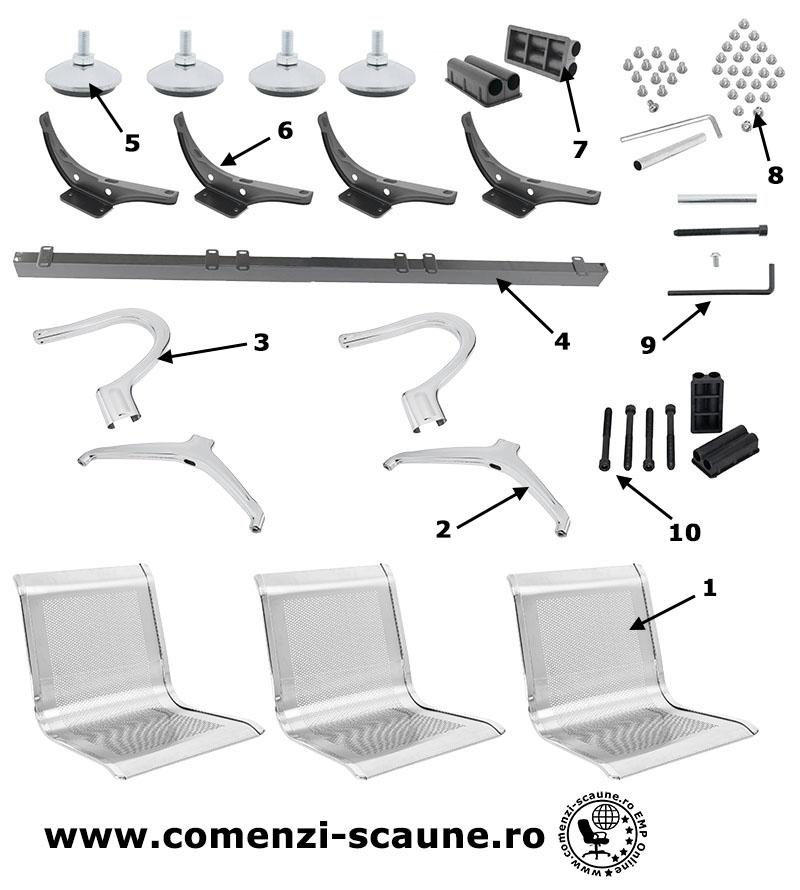 montaj-si-prezentare-banci-metalice-cu-3-locuri-componente-accesorii