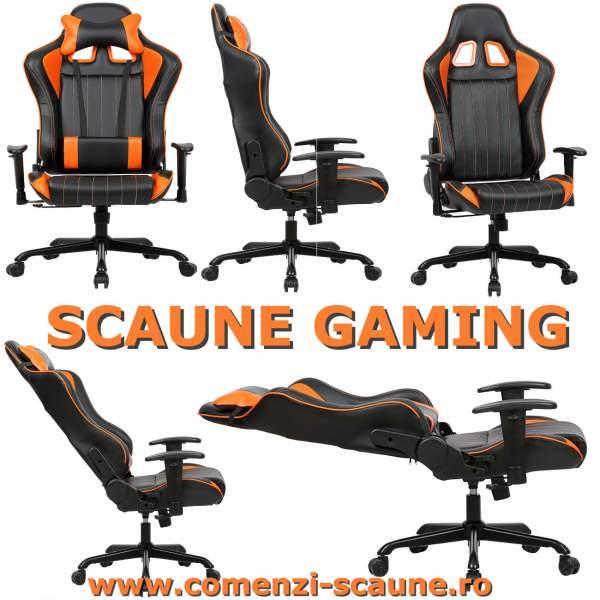 Scaun-gaming-90M-negru-portocaliu