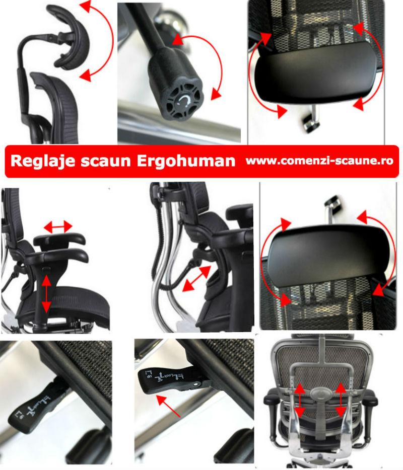 Scaune ergonomice profesionale Ergohuman reglaje