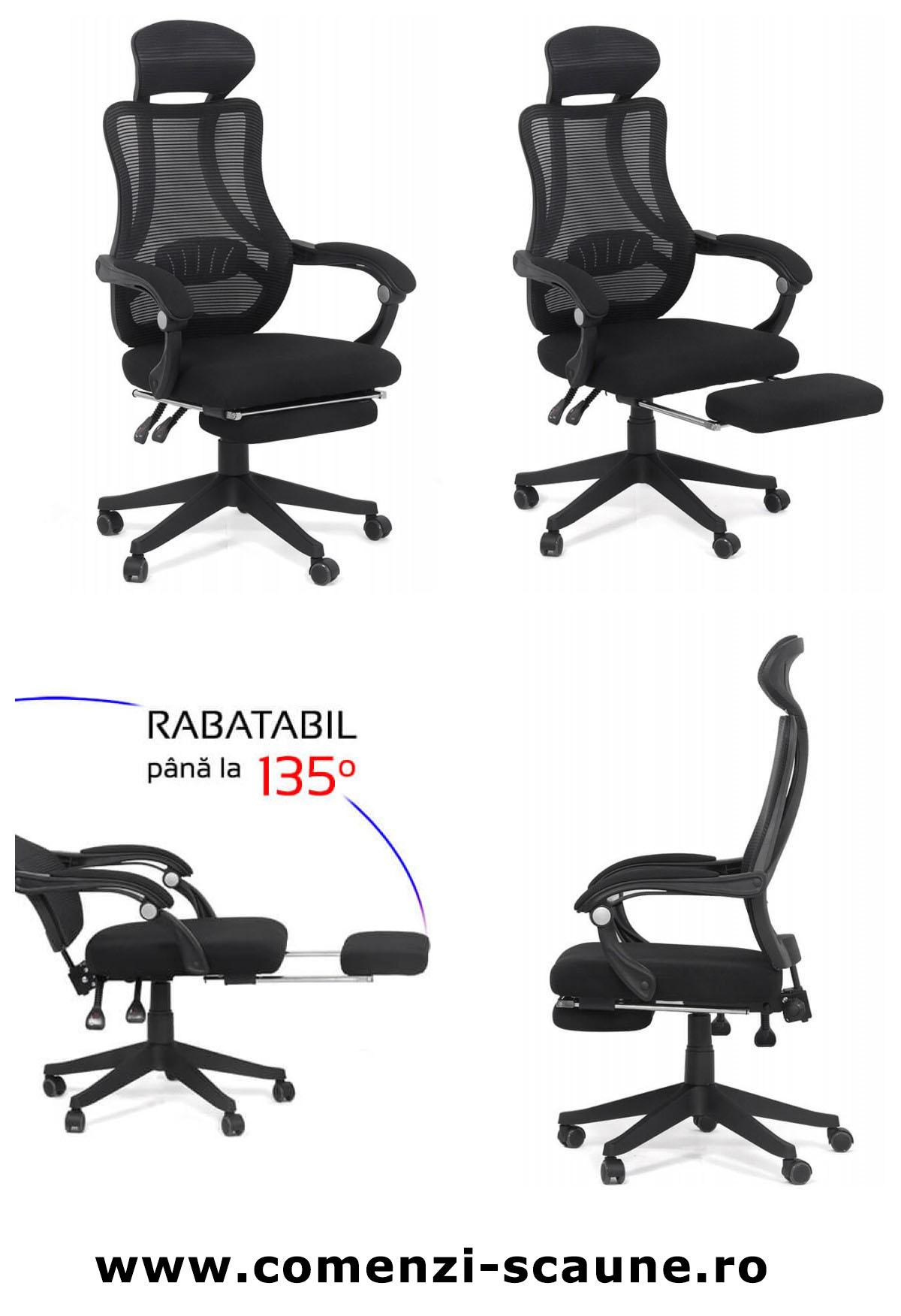 Scaun ergonomic de birou Office 927 din stofa cu suport de picioare