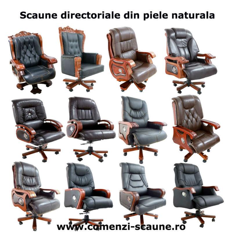 Scaune de birou tip fotoliu executiv directorial din lemn masiv și piele naturală