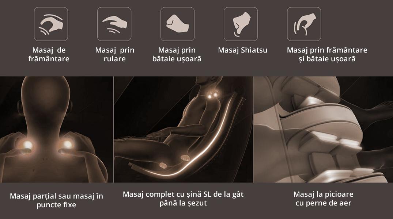 Fotoliu de masaj 3D Full Body cu 5 metode de masaj