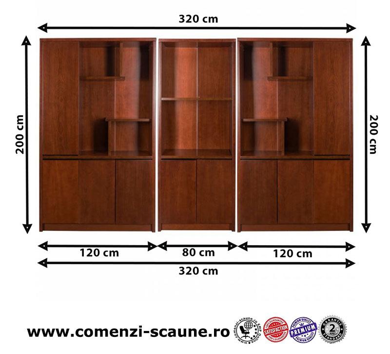 Set dulap biblioraft pentru birou directorial format din 3 piese-1807-2