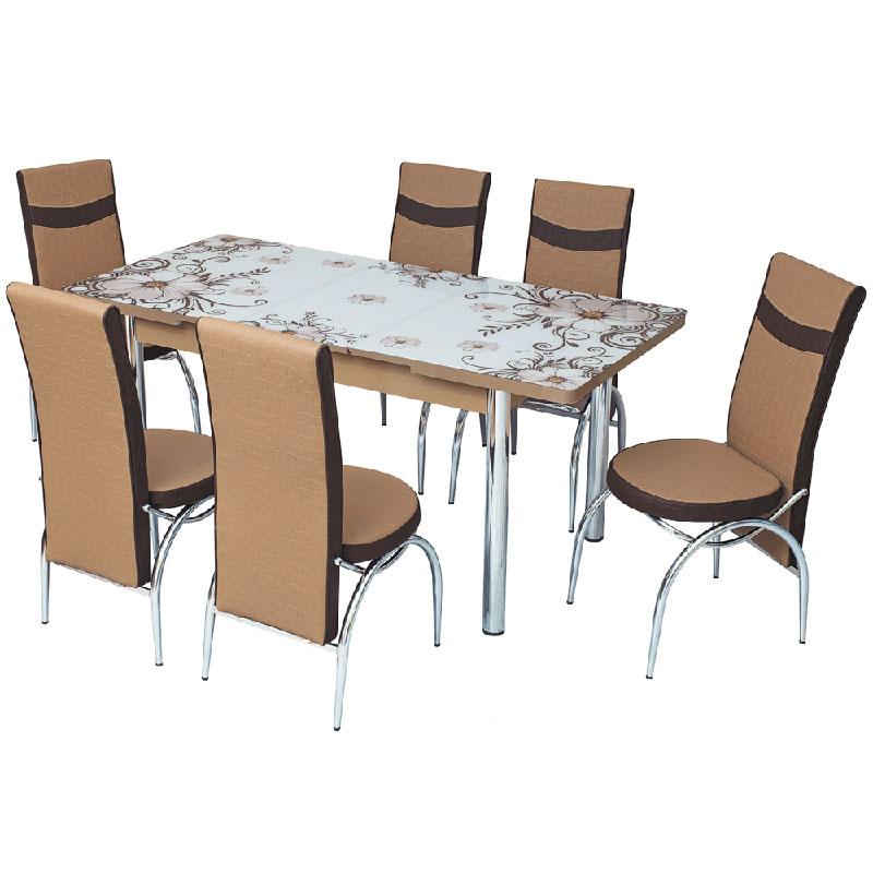 Masa de bucatarie + 6 scaune, set Dalia, extensibila