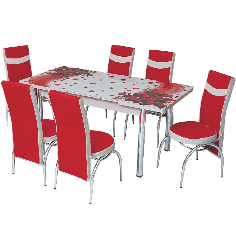 Set masa extensibila Amarillis, rosu-alb, 6 scaune
