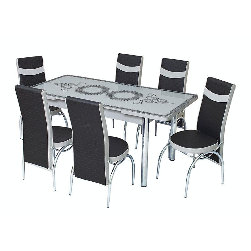 Set masa extensibila cu 6 scaune Arta Table Oriental White