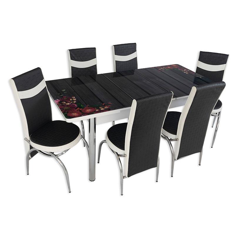 Set masa extensibila cu 6 scaune Arta Table Flori de camp, pal melaminat + piele ecologica, negru + alb, 169 x 80 cm
