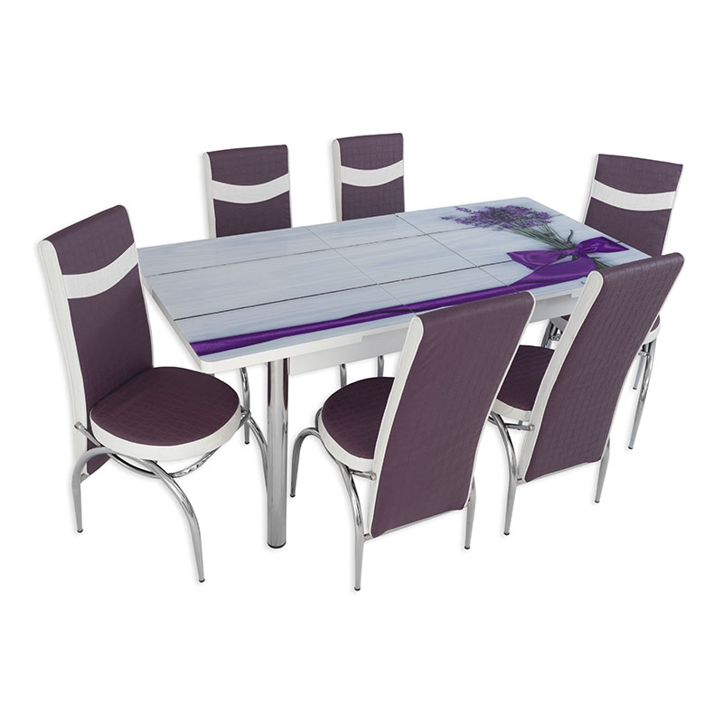 Set masa extensibila cu 6 scaune Arta Table Lavanda, pal melaminat + piele ecologica, violet + alb, 169 x 80 cm
