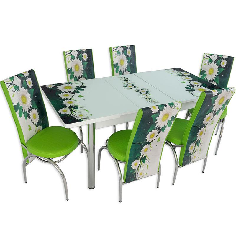Set masa extensibila cu 6 scaune Arta Table Daisy, Pal melaminat, alb + verde cu flori, 169 x 80 cm