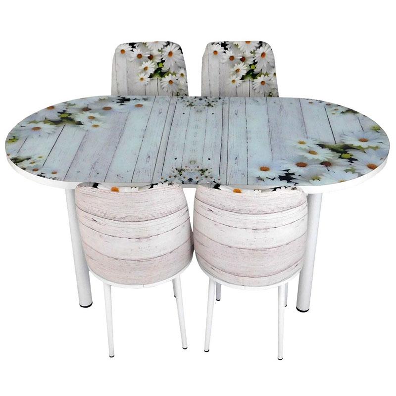 Set masa ovala extensibila cu 4 scaune Lily, pal melaminat, alb, 170,5 x 75 cm