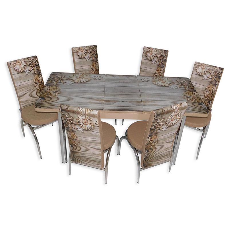 Set masa extensibila cu 6 scaune Arta Table Fulg de nea, pal melaminat + piele ecologica, crem +maro, 169 x 80 cm