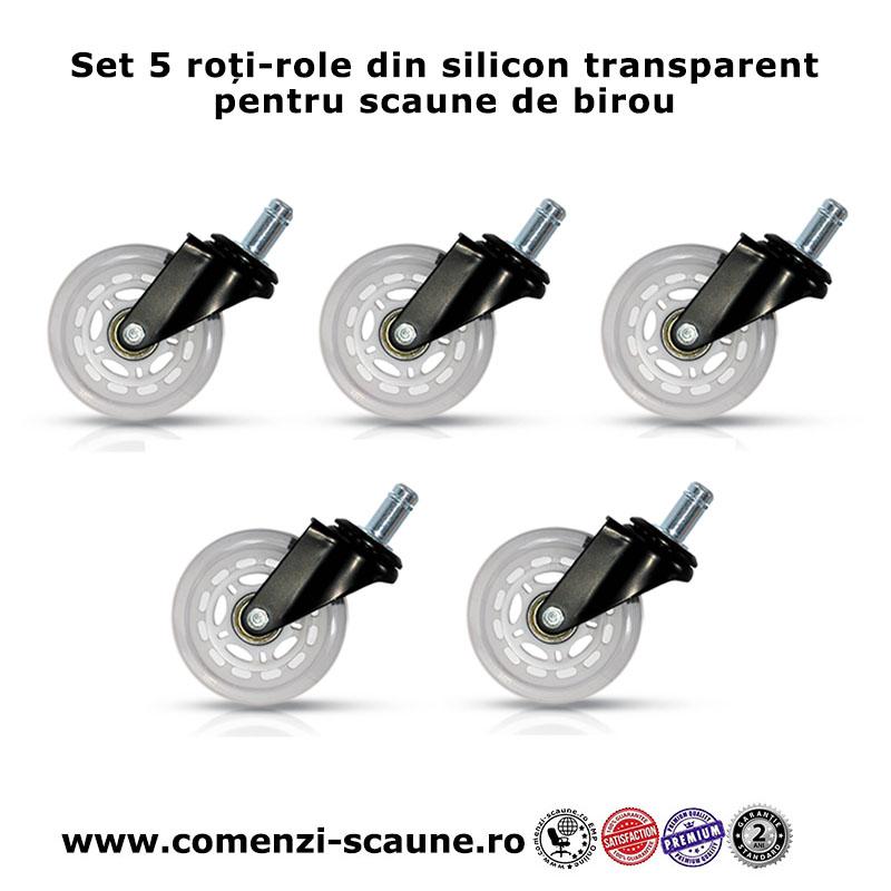 Set 5 roti din silicon transparent pentru scaune de birou