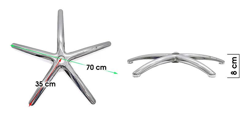 Bază stea metalică pentru scaune de birou-dimensiuni-70cm