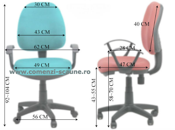 Dimensiuni Scaun de birou modern si confortabil