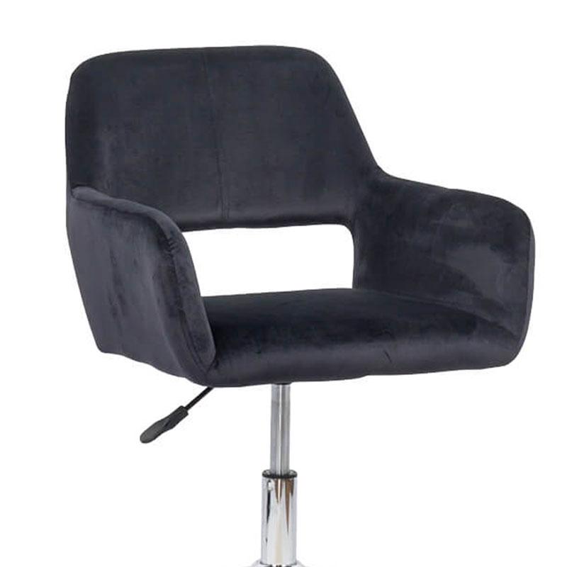 Scaun de birou cu baza metalicătapițat cu catifea neagră-OFF380-1