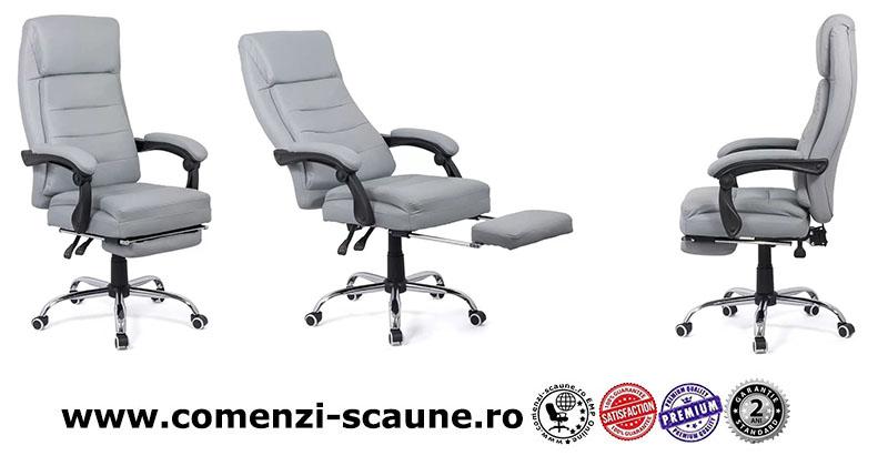 Scaune directoriale ieftine cu suport de picioare pe culoarea gri și negru-Transport Gratuit-5