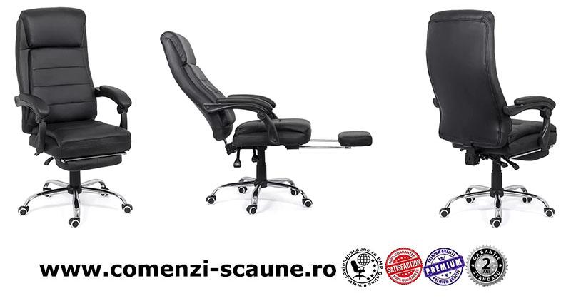 Scaune directoriale ieftine cu suport de picioare pe culoarea gri și negru-Transport Gratuit-2