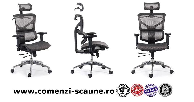 Scaune ergonomice rezistente si multifunctionale pe culoarea gri si negru-3 gri