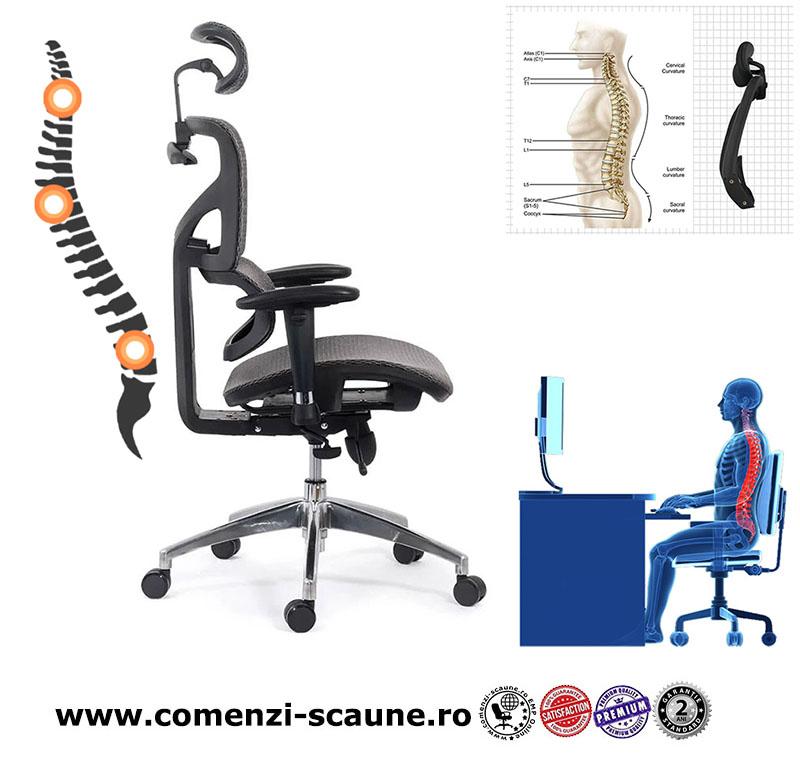 Scaune ergonomice rezistente si multifunctionale pe culoarea gri si negru-pozitie
