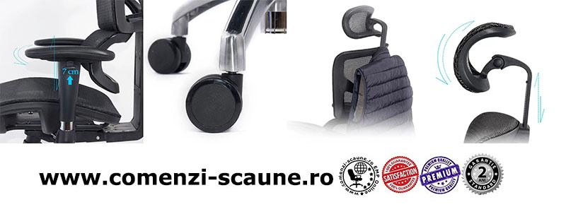 Scaune ergonomice rezistente si multifunctionale pe culoarea gri si negru-componente