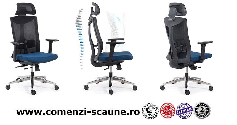 Scaun ergonomic multifunctional si elegant pe culoarea albastru cu negru-SYYT-9501-2