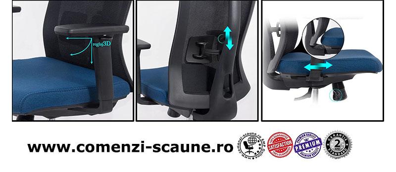 Scaun ergonomic multifunctional si elegant pe culoarea albastru cu negru-SYYT-9501-3