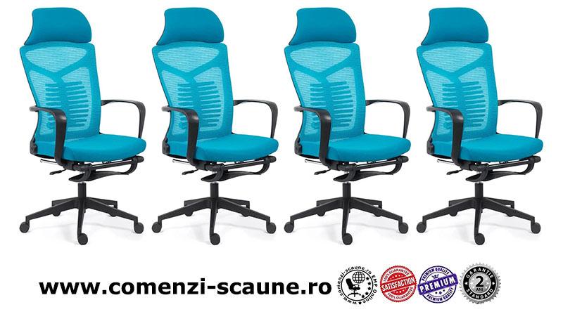 Scaun ergonomic cu spatar rabatabil si suport pentru picioare-albastru SYYT 9502-1
