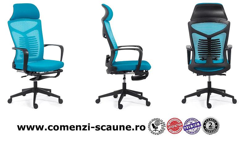 Scaun ergonomic cu spatar rabatabil si suport pentru picioare-albastru SYYT 9502-2