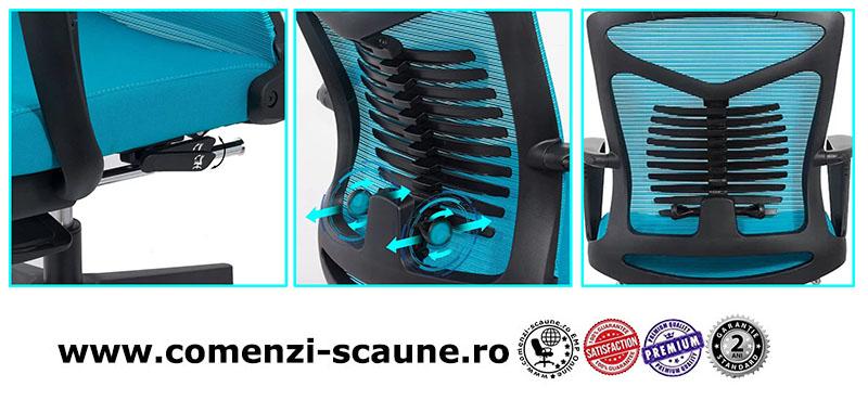 Scaun ergonomic cu spatar rabatabil si suport pentru picioare-albastru SYYT 9502-3