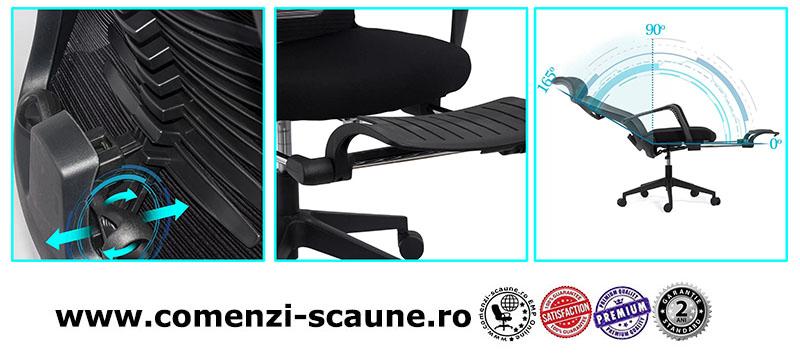 Scaun ergonomic cu spatar rabatabil si suport pentru picioare SYYT 9502 negru-3