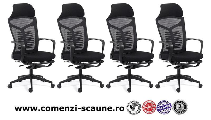Scaun ergonomic cu spatar rabatabil si suport pentru picioare-negru SYYT 9502-1
