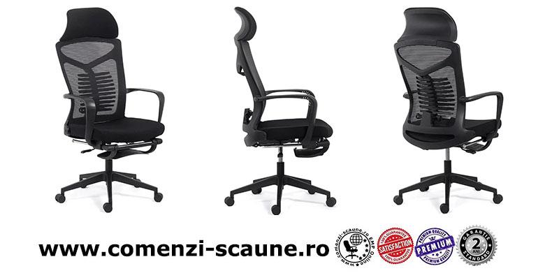 Scaun ergonomic cu spatar rabatabil si suport pentru picioare SYYT 9502 negru-2