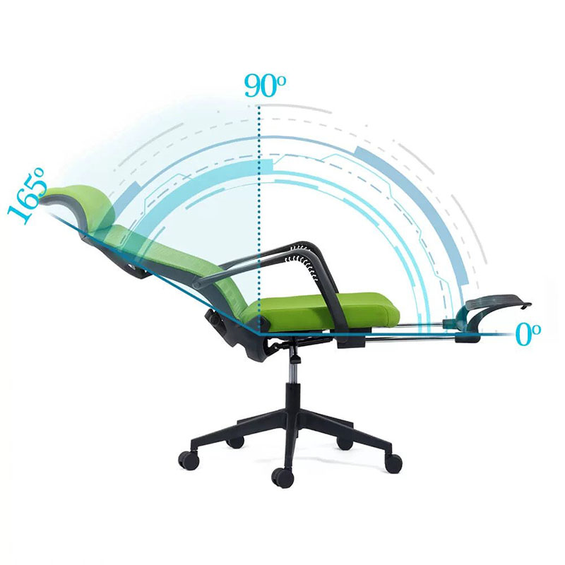 Scaun ergonomic cu spatar rabatabil si suport pentru picioare-verde SYYT 9502-1-3
