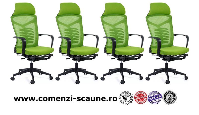 Scaun ergonomic cu spatar rabatabil si suport pentru picioare-verde SYYT 9502-1