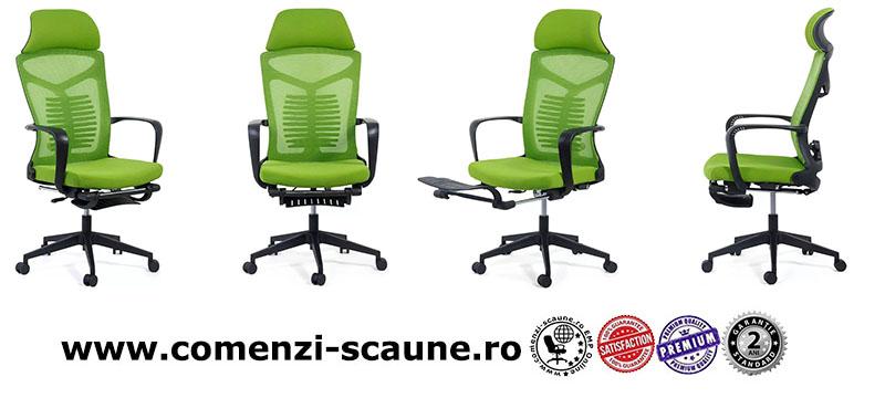 Scaun ergonomic cu spatar rabatabil si suport pentru picioare-verde SYYT 9502-1-2