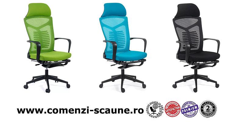 Scaun ergonomic cu spatar rabatabil si suport pentru picioare-albastru SYYT 9502-color