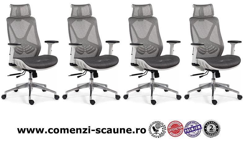 Scaun ergonomic multifunctional si elegant cu tetiera pe culoarea gri-SYYT-9503-1